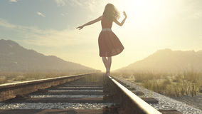 A walking girl on the railway Stock Images