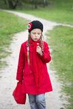 Walking girl by spring Stock Photo