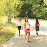 Walking girls. Three girls walking on beton road thru forest with birches on trip Stock Image