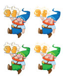 Walking gnome with beer. Illustration of a walking gnome with beer Stock Photo