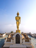 Walking golden buddha statue viewpoint in Nan Stock Images