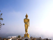 Walking golden buddha statue viewpoint in Nan Royalty Free Stock Image