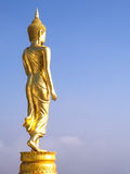 Walking golden buddha statue viewpoint in Nan Stock Image