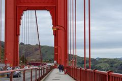Walking the Golden Gate Bridge royalty free stock image