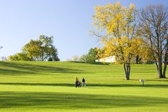 Walking Golfers On The Fairway Stock Photography