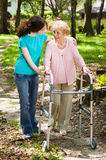 Walking with Grandma royalty free stock photos