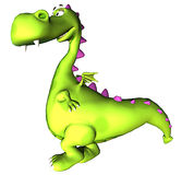 Walking green dragon baby dino Royalty Free Stock Photo