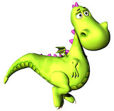 Walking green dragon baby dino Stock Images