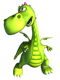 Walking green dragon baby dino Royalty Free Stock Image