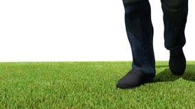 Walking on green grass front. Walking on green grass 3D render foot Stock Photos