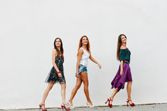 Walking Group Of Young Women Stock Photo