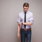 Walking guy in formal wear. Emotional shot of walking guy in formal wear Stock Photography