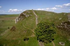 Walking Hadrians Wall. Hadrians Wall (Roman remains) Northumberland England UK Royalty Free Stock Photos
