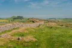 Walking Hadrians Wall. Group walking along Hadrians Wall in Northern England Royalty Free Stock Image