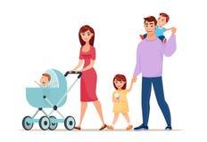 Walking happy family. Cartoon style vector illustration. vector illustration
