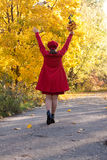 Walking  happy woman in autumn Stock Photo