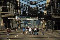 Walking harbour bridge Stock Images