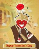 Walking Heart Sticker. /Walking heart character sticker, holding lips(kiss). With fun retro background Stock Image