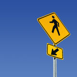 Walking here. Pedestrian crossing street sign with room for copy Stock Photography