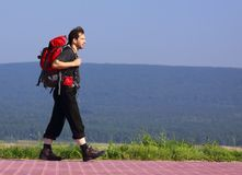 Walking hiker. With backpack. On background hill with forest Royalty Free Stock Photo