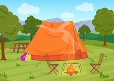 Walking, Hiking or Sports outdoor camping recreation landscape, nature adventures vacation illustration. Tent with. Fireplace Stock Photography