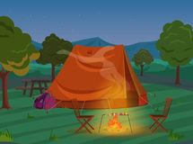 Walking, Hiking or Sports outdoor camping recreation landscape, nature adventures vacation illustration. Tent in night. Wood Royalty Free Stock Photo