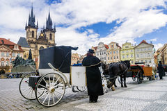 Walking horse carriage in Old Town Square in Prague, Czech Repub Stock Photo