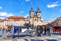 Walking horse carriage in Old Town Square in Prague, Czech Repub Stock Photos