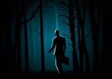 Walking In The Dark Forest Stock Image