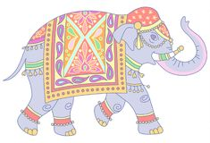 Walking indian elephant. Blue Indian elephant decorated in traditional style. Vector illustration isolated on white background Royalty Free Stock Image