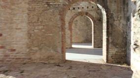 Walking inside Forte Interrotto of First World War stock video footage