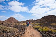 Walking on Isla de Lobos Stock Image