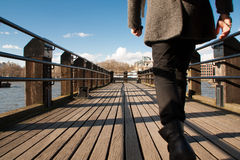 Walking on a jetty Stock Image