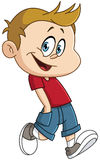 Walking kid. Vector illustration of a happy kid walking with his hands in pocket Stock Image