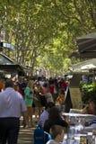 Walking on La Rambla street in Barcelona Royalty Free Stock Images
