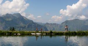 Walking on the lake. Mountain lake in switzerland. Walking around the lake Royalty Free Stock Photography