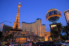 Walking in Las Vegas. City streets. Commercial and private build Royalty Free Stock Photos
