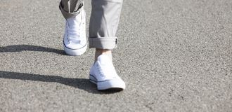 Walking Legs on Road royalty free stock image