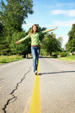 Walking on the line Royalty Free Stock Photography