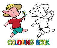 Walking little piglet coloring book Royalty Free Stock Photos