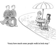 Walking in Lock Step. Cartoon about people behaving and thinking exactly the same Royalty Free Stock Photography