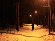 Walking of the lonely woman in evening park - only black silhouette on the alley Royalty Free Stock Photography