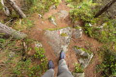 Walking long a mountain path at fall in the woods Royalty Free Stock Photography