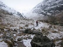 Walking in the Lost valley of Glencoe in Winter. Scotland Royalty Free Stock Photo