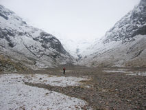 Walking in the Lost valley of Glencoe in Winter. Scotland Royalty Free Stock Photos
