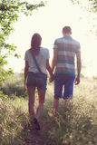 Walking loving couple royalty free stock photography