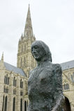 Walking Madonna & Salisbury Cathedral royalty free stock photo