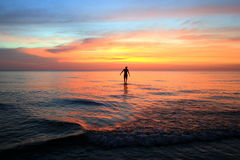 The walking man on the beach on the colorful sunset. Stock Photo