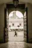 Walking man in gate door Royalty Free Stock Images
