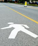 Pedestrian Crosswalk Sign at Office Building Stock Image